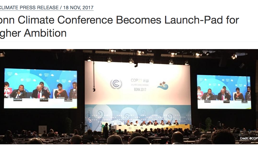 Outcomes and Highlights of the 2017 UN Climate Conference