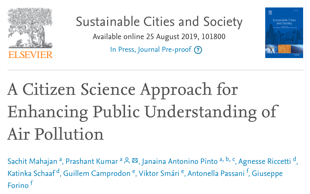 iSCAPE publication now out on how Citizen Science can enhance public understanding of air pollution